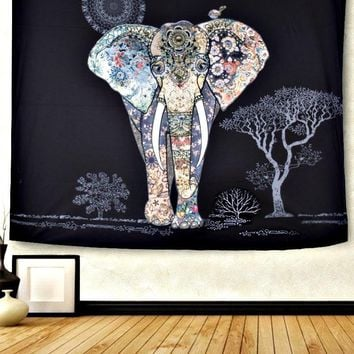 Night Sky Elephant Boho Wall Bed Tapestry