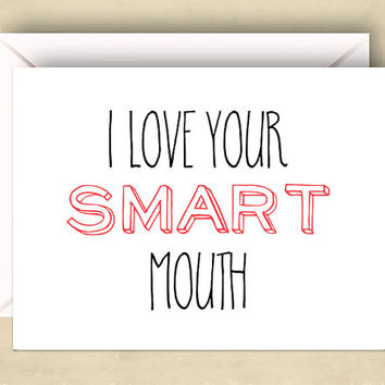 I Love Your Smart Mouth Card, 5.5 x 4.25 Inch (A2), Funny Love Card, Pink, Cute Love Card,Cute Valentine Card,Funny Love Card,Pink and Black