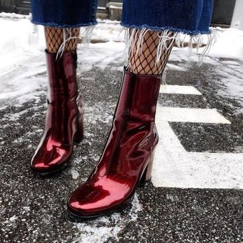 MONMOIRA Patent Leather Sexy Red Women Boots Round Toe Short Ankle Boots Women Punk Motorcycle Boots Women SWE0322