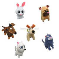 6 Styles The Secret Life Of Pets Max Chloe Snowball Bulldog Keychain Plush Doll 4""