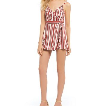 Stilletto's Stripe Wrap Romper | Dillards