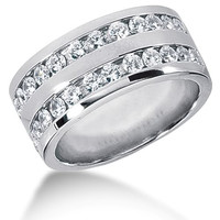 Round Brilliant Diamond Mens Ring in 14k white gold (0.96cttw, F-G Color, SI2 Clarity)
