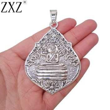 ZXZ 2pcs Large Antique Silver Thai Meditation Buddha Buddhist Amulet Charms Pendants for Necklace Jewelry Making Findings