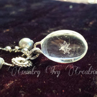 oval Shaped Glass Real Preserved Snowflake Necklace, real snowflake for sale, gray pearl