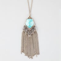 Full Tilt Turquoise Stone Fringe Necklace Gold One Size For Women 25709262101