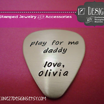 Personalized Guitar Pick - Hand Stamped Stainless Steel SHIPPED in 10-14 Days SHIPPING TIME 3-5 Days