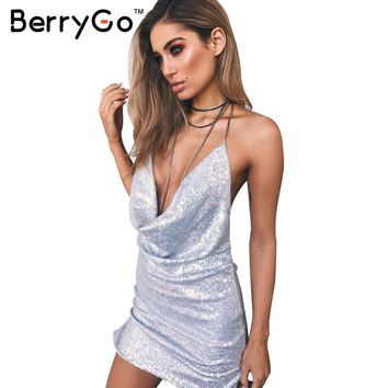 BerryGo Sequined backless deep v neck sexy dress Women christmas sleeveless party club dress Split chain short dress vestidos