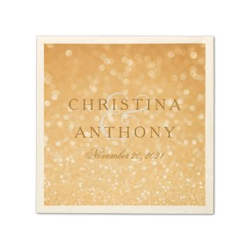 Gold Confetti Wedding Personalized Napkin
