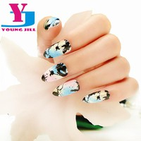 Fake Nails 24psc / Set New Design Full Cover Oval False Nail Art Tips with Glue In Box Beauty Art Faux Ongles
