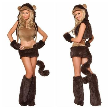CREYUG3 Naughty Monkey Adult Costume Sexy Women Party Animal Costumes Halloween Cosplay Costumes Cute Carnival Costumes (Color: Brown) = 1945938820