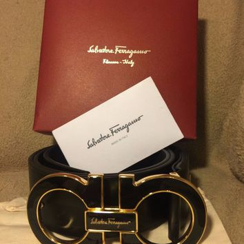 New Ferragamo Black/Gold Gancio Buckle Belt 100cm Fits 34-36in