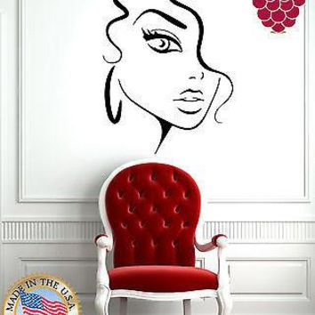Wall Stickers Vinyl Decal Sexy Girl Face Portrait Full Lips Earings EM570