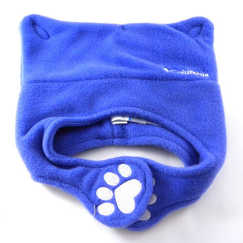New Columbia Pigtail Cute Cat Paw Blue Fleece Infant/Baby's Winter Beanie