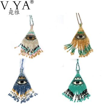 Big Eyes Patter Design Necklace Pendants for Woman Handmade Friendship Seed Beads Jewelry Boho Rope Chain Wen Bohemia