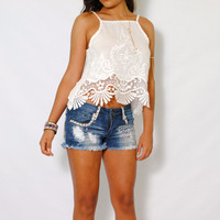 (ame) Bohemian scallops crochet trimming ivory cami