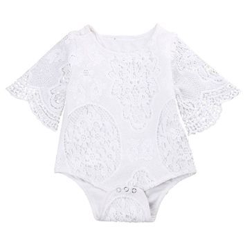 Newborn Baby Girl Lace Romper Clothes 0-24M Infant Bebes Girls Lace Jumpsuit Baby Rompers Playsuit One Pieces Outfit Sunsuit