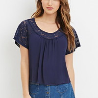 Lace-Paneled Crepe Blouse