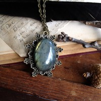 Green Woodland Labradorite Fern Brass Necklace