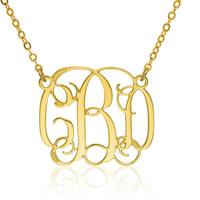 Monogram Necklace 1.25 inch- 14k Gold filled Personalized Necklace Monogrammed Necklace personalized bridesmaids gift