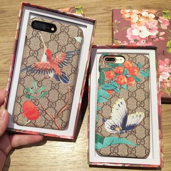 originality GUCCI Bird Butterfly Print iPhone Phone Cover Case For iphone 6 6s 6plus 6s-plus 7 7plus