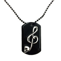 Skull music note dog tag necklace / skull jewelry / music necklace / dog tag jewelry / mens jewelry / music note jewelry / skull necklace