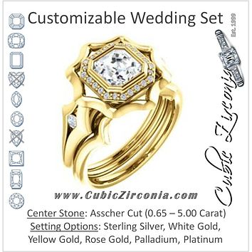 CZ Wedding Set, featuring The Jeanne engagement ring (Customizable Bezel-set Asscher Cut with Halo & Oversized Floral Design)