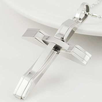Fashion Stainless Steel Womens Mens Cross Pendant Necklace