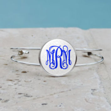Peacock Feather Monogram Pendant Necklace Silver Bracelet Monogram Bangle Cuff Bracelet Glass Royal Blue Peacock Feather Bracelet Gifts