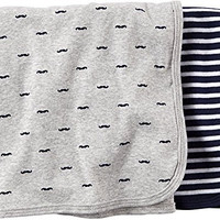 Carter's Carter's 2 pk Swaddle Blanket- Navy Grey - Navy Grey