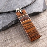 Mens Leather Necklace, Bar Necklace For Men, Wood Pendant On Leather Necklace, Jewelry Gifts For Men