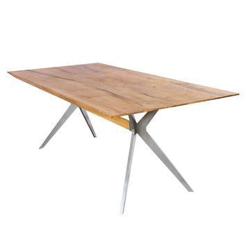 "Pollux Modern Industrial Table 79"" Dining Table Natural Oak"