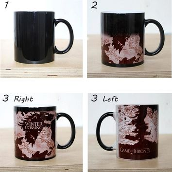Discoloration Cup GAME OF THRONES Mug WINTER Is COMING Wolf Maps Coffee Milk Color Change Mugs Ceramic Creative Surprised Gifts