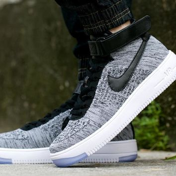 LMFON Nike Air Force 1 Flyknit Mid-High 817420-005 Grey For Women Men Sneakers
