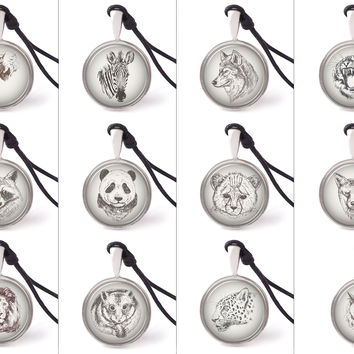 Vietguild Hand Drawn Portrait of Animals Necklace Pendants Pewter Silver Jewelry