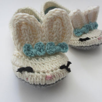 Women's Bunny Slippers - Crochet - Cream Blue Gray - Bows - Sizes 4 5 6 7 8 9 10 11 - Toddler Baby Sizes