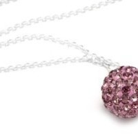 .925 Sterling Silver Pink Crystal Ball Pendant Necklace 18""