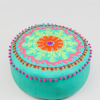 Embroidered Floor Pouf In Sea Green