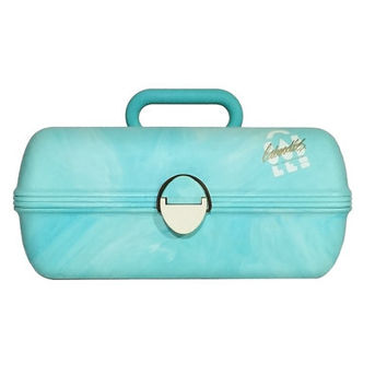 1980s Caboodles Aqua Blue Marbled Makeup Case / Vintage Deluxe Cosmetic Storage Box with Mirror, Removable Tray / Fun Retro Container