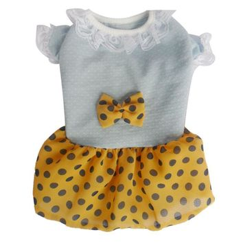 White, Yellow, and Black Polka Dot Cat Dress