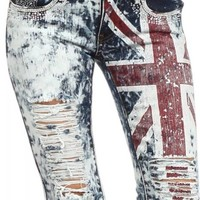 MACHINE JEANS Destroyed Distressed Denims Acid Wash Skinny Jeans with Union Jack Graphic Size 3
