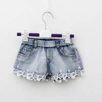 2016 Summer Fashion Girls Lace Flower Denim Pocket Short Jeans Pants Baby Casual Trousers Kids Shorts Children's Clothing New