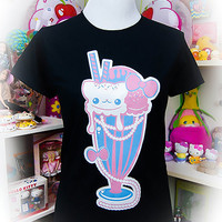 Kawaii Fairy Kei Pastel Goth Sugar Pop Cream Sundae Kitty Cat Graphic Tee