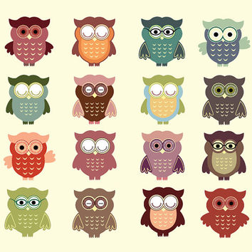 Owl Clip Art, 16 vintage colored images, cute birds with glasses, colorful and detailed, for kraft projects, graphic design and scrapbooking