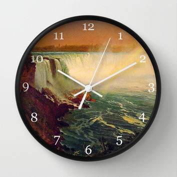 Bierstadt Albert. Niagara Falls.  Vintage landscape oil painting. Wall Clock by ArtsCollection