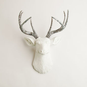 Faux Taxidermy - The Weston - White W/ Silver Glitter Antlers Resin Deer Head- Stag Resin White Faux Taxidermy
