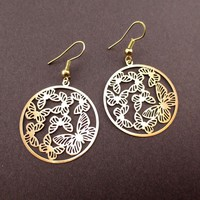 Round Butterfly Pattern Filigree Cut Out Shaped Dangle Earrings in Gold | DOTOLY