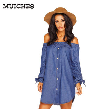 MUICHES 2017 new summer style Button vintage women denim dress long sleeve with Bow off the shoulder Loose fashion mini dresses