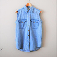 sleeveless chambray blouse 90s minimalist light denim button up shirt medium