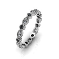 14K White Gold Art Deco Antique Style .36cts Black and White  Diamond Eternity Band Anniversary Ring