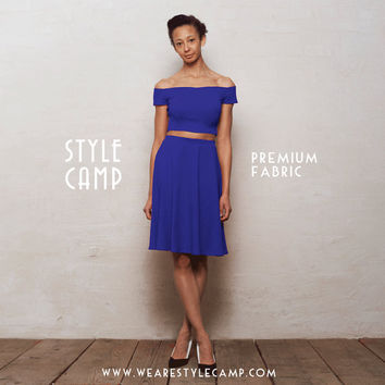 PREMIUM Coco Two-Piece Crop Top & Skater Skirt Co-Ord Set in Royal Blue Ponte